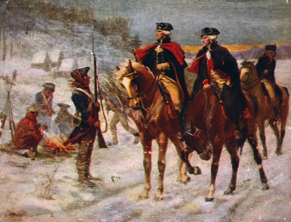 Washington and Lafayette at Valley Forge 600x459